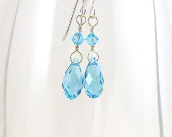 Blues Crystal Tear Drop Earrings, Swarovski Briolette