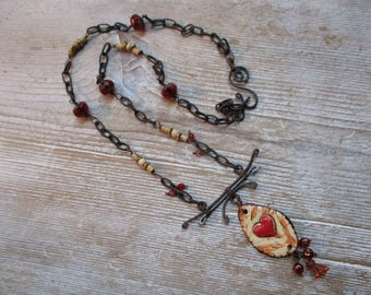 Statement necklace Beautiful Batik pendant  accent with rustic weathered chain.