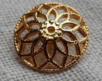 Gold  Vintage Button Filigree