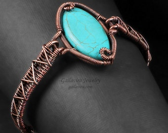 Turquoise Magnesite and Copper ZigZag Weave Bracelet - CLEARANCE