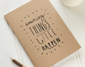 Sale: Amazing notebook - A5 kraft notebook - blank pages - notepad - stocking filler - amazing things will happen - motivating notebook