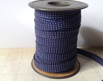 """double fold bias tape 1/2""""  navy blue with white dots"""