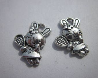 Bunny 15mm silver color 2 Charms (-6080)