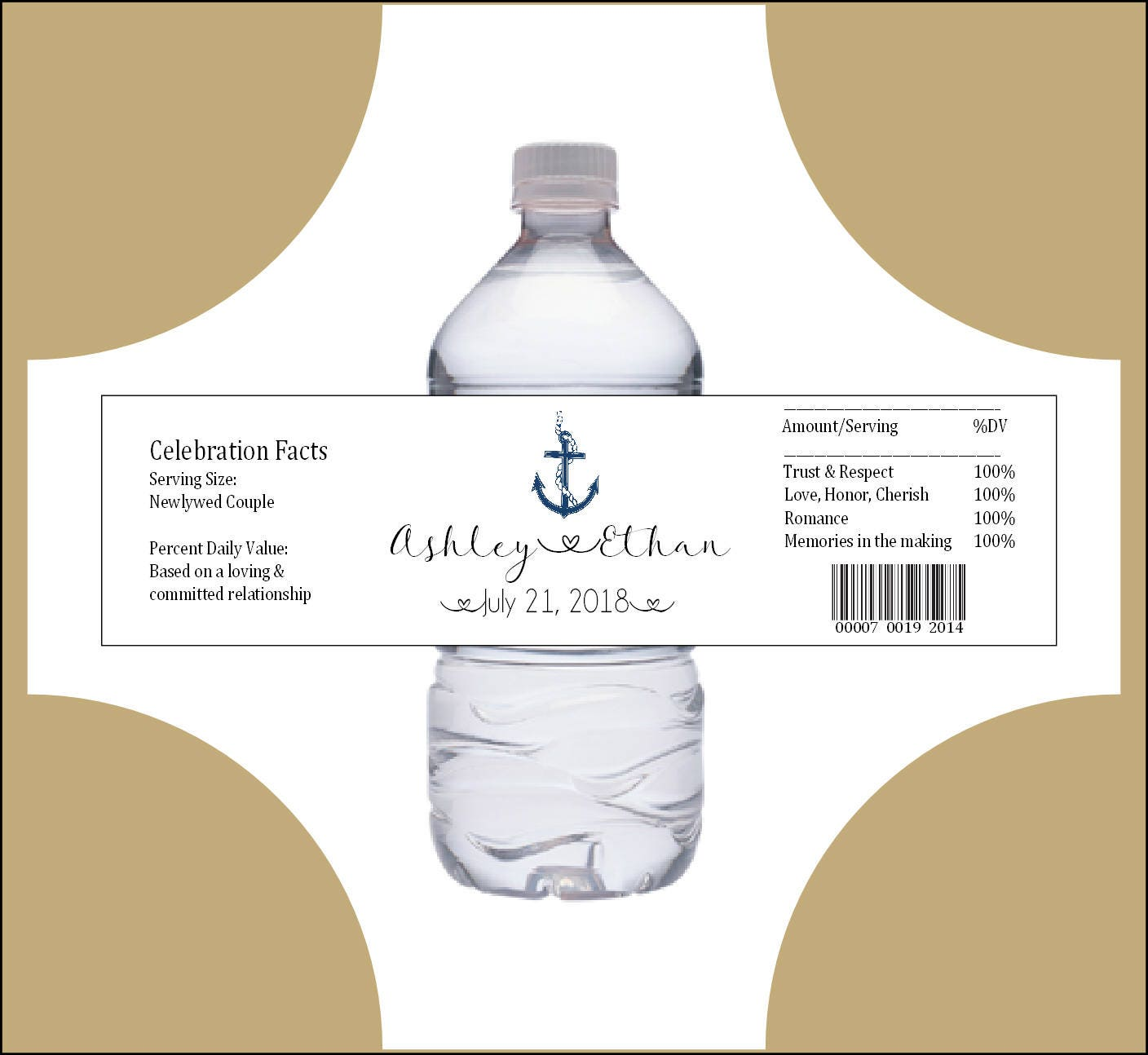 25 Nautical Beach Anchor water bottle labels - Wedding favors