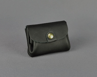 Leather Small Coin Purse Black Handmade Soft // Vintage Upcycled Mini Change Pouch