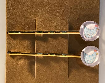 Blue chickens on gold Bobby Pin Set