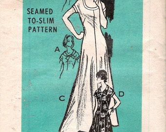 Vintage 1974 Marian Martin 9242 Long Seamed To Slim Dress Sewing Pattern Size 16 1/2 Bust 39""