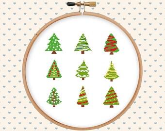 Christmas tree cross stitch pattern - holiday tree cross stitch - pattern pdf - holiday cross stitch