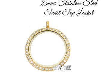 Gold Floating Locket • Stainless Steel • Twist Top • Medium 25 mm • Crystals ~ SS119