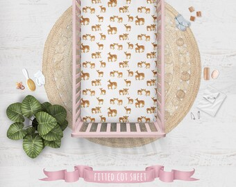 Fawn Cot Sheets Baby Deer Family | Fitted Cot Sheet or Bassinet Sheet | Organic Cotton Sateen or Organic Knit | Caramel Cream