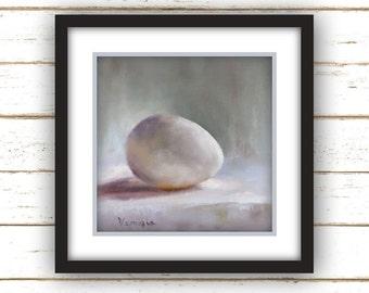 Egg Painting Print - Original Fine Art Still Life Painting Print