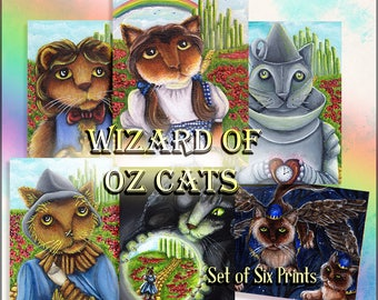 Wizard of Oz Cat Collection, Dorothy, Tin Cat, Scarecrow, Lion, Wicked Witch, Flying Monkeys Six Print Special