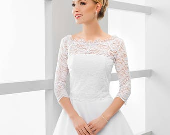 3/4 sleeve lace topper   bridal lace topper   bridal lace jacket   bridal separates