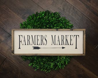 Farmers Market Sign | Wood Sign | Farmhouse Style | Farmhouse Decor | Kitchen Sign | Kitchen Decor | Farmhouse Sign | Market Sign | Fixer Up