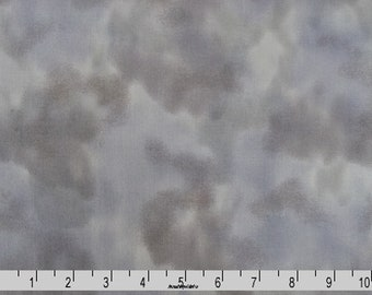 Grey Cloudy Sky Fabric, Fabric Freedom FAFH50-21 Tin, Perfect Palette, Perfect Occasions, Gray Clouds Sky Landscape Quilt Fabric, Cotton