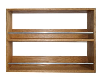 Solid Oak Spice Rack Contemporary Style 2 Shelves Freestanding or Wall Mounted Kitchen Storage