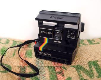 Vintage 1980's Polaroid One Step 600 – Rainbow Instagram Stripe - 600 Series Film - Folding – Made in UK