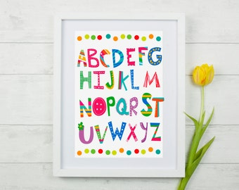 Nursery Alphabet Print, Alphabet Print, ABC Print, Playroom Print, Alphabet Nursery, ABC Wall Art, Kids Alphabet Art, Alphabet Wall Art,
