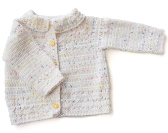 White Crochet Cardigan for a Baby Girl (9-12mo)