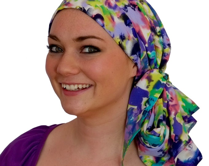Featured listing image: Carlee Pre-Tied Head Scarf, Women's Cancer Headwear, Chemo Scarf, Alopecia Hat, Head Wrap, Head Cover for Hair Loss - Purple Haze