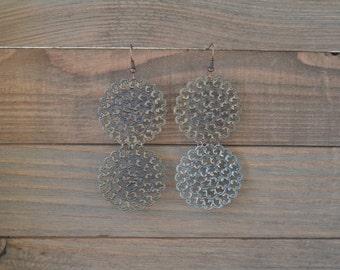 CLOSEOUT Large Round Filigree Earrings - Antique Gold Statement Earrings - Disk Earrings - Large Dangle Earrings - Lightweight Metal Earring