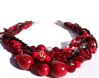 Red Statement Necklace, Bridal Necklace, Beaded Wedding Jewelry, Massive Necklace, Strand Jewellery
