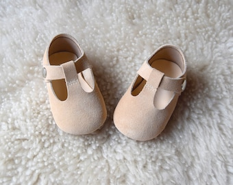 Baby Moccasins, Beige Baby Girl Shoes, Leather Mary Jane T Strap, Sand Infant Booties, Baby Mocc, Handmade Suede Crib Shoe, Baby Shower Gift