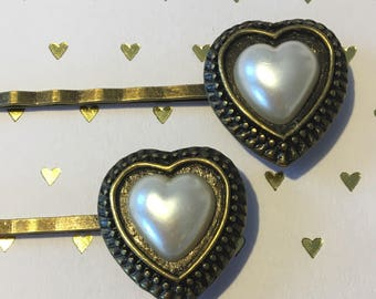 Pearl Heart Bobby Pins, Antique Bronze Bobby Pins, Valentine's Bobby Pins