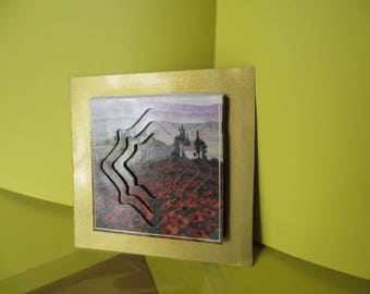 Card (embossed) 3-d landscape with poppies