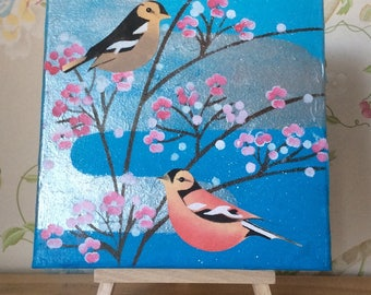 Plum Blossom and Chaffinches: Acrylic on canvas