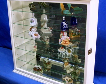 Antique White Wall Curio Cabinet Tabletop Display