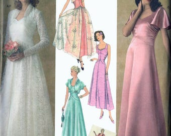 OOP Evening or Bridal Dress w/ Jacket Retro 1930s Reprint American Sewing Guild Sewing Pattern Simplicity 4270 Plus and Average Sz 16-24 UC