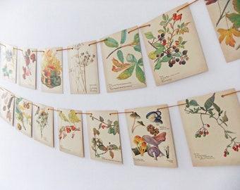 Fall garland, Autumn Bunting, Wedding Banner. Rustic wedding Pennants, Thanksgiving, Upcycled Country Diary of an Edwardian Lady