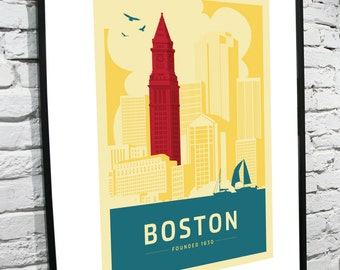 Boston, Massachusetts Skyline 11x14 Poster