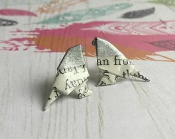 Silver Headed Literary Origami Bird Post Earrings