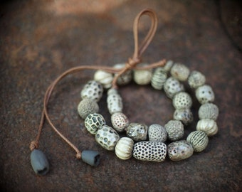 Ceramic necklace with author's handcrafred beads
