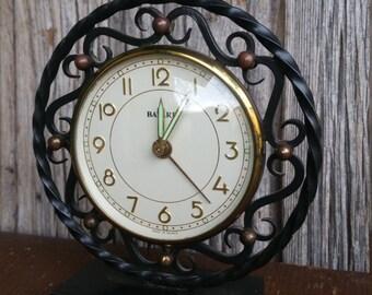 French Vintage Wrought Iron 1950s Mechanical Alarm Clock  -  Retro Metal Bayard Working Alarm Clock
