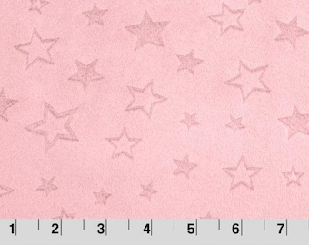 Embossed Star Cuddle Blush, Star Minky, Shannon Minky Fabric, Shannon Cuddle Minky, Blush Minky Fabric, Minky by Yard, Cuddle Blush Minky