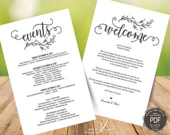 Wedding Welcome and Itinerary card, editable PDF template, Timeline card, Wedding weekend, welcome bag, welcome box, 5.5x8.5 inch (TED435_1)