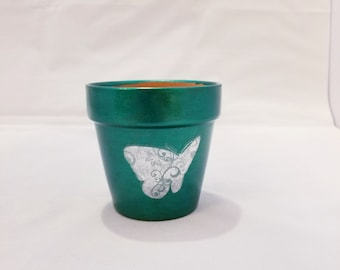Metallic Green Terra Cotta Pot With Silver Butterflies