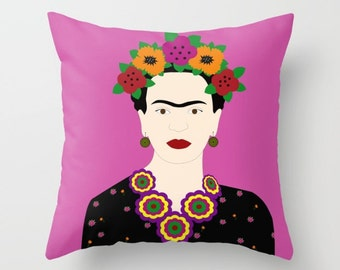 Mexican throw pillow cover-Fuchsia Floral-Mexican pink cushion case-Floor pillow-Valentines gift-Modern pillow cover-16x16-18x18-20x20
