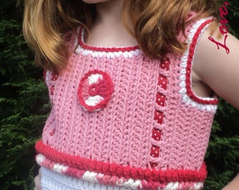 SALE Peppermints & Polka Dots, Little Girl's Cute Crochet Tank Top with Peppermint Candy Hair Accessory