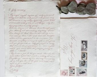 Styled handwritten wedding vows / love letter / proposal letter