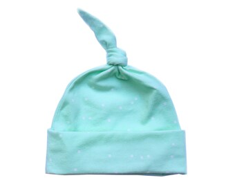 Knotted baby hat - Top knot baby hat - Newborn hospital hat - Baby hat - Infant hat - Mint jersey knit with white polka dots
