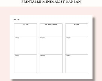 Printable Kanban for Makers Simple Minimalist Organizer Planner Time Management Project Management To Do List Backlog Increase Productivity