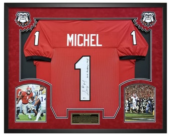 04883cd14 Sony Michel Georgia Bulldogs Autographed Red Jersey Framed in a Custom  Shadow Box Frame with Beckett
