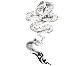 Snake Cobra Temporary Fake Tattoo Bold Body Art Transfer Waterpoof Fancy Dress