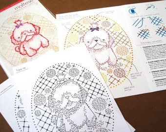 Maltese puppy hand embroidery pattern with iron on transfer - printed
