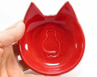 Cat dish, ring dish, paper clips holder, key holder, jewelry holder, cat tea light holder, pin holder, trinket cat dish, cat lovers gift