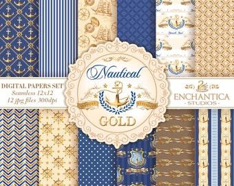 Nautical Digital Paper, Digital Paper Nautical, Vintage Nautical Paper, Nautical Pattern, Anchor Navy Digital Papers, Scrapbook Vintage Ship